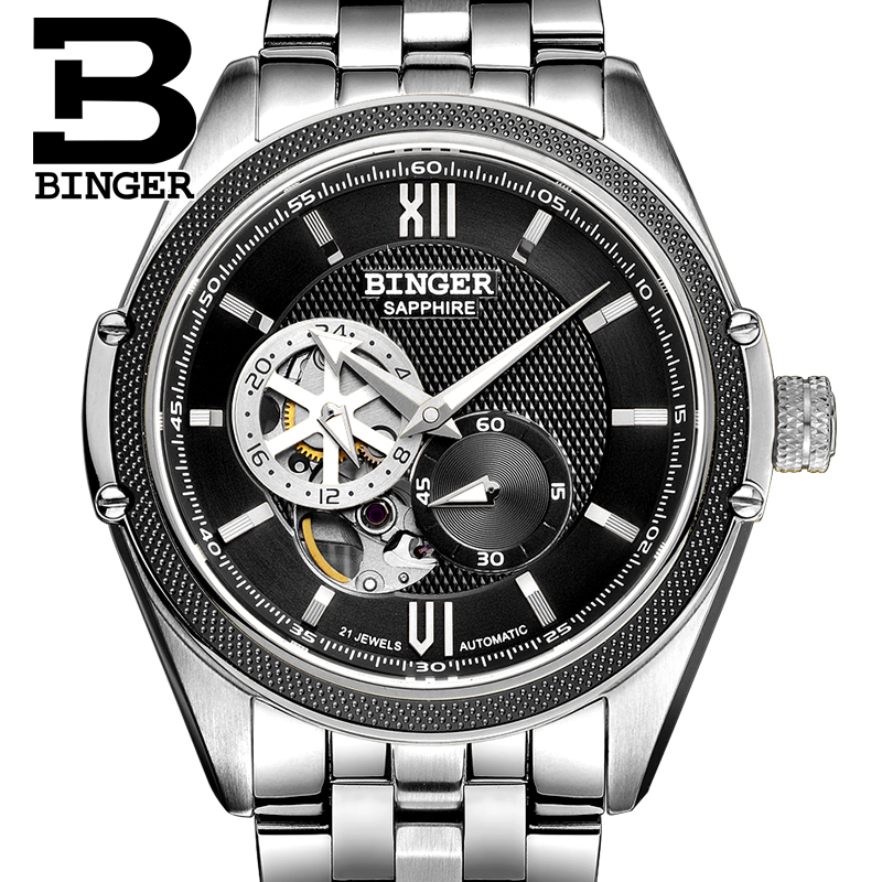 Switzerland Binger Watch Men Luxury Brand Miyota Automatic Mechanical Movement Watches Sapphire Waterproof reloj hombre B-1165-3 wrist waterproof mens watches top brand luxury switzerland automatic mechanical men watch sapphire military reloj hombre b6036