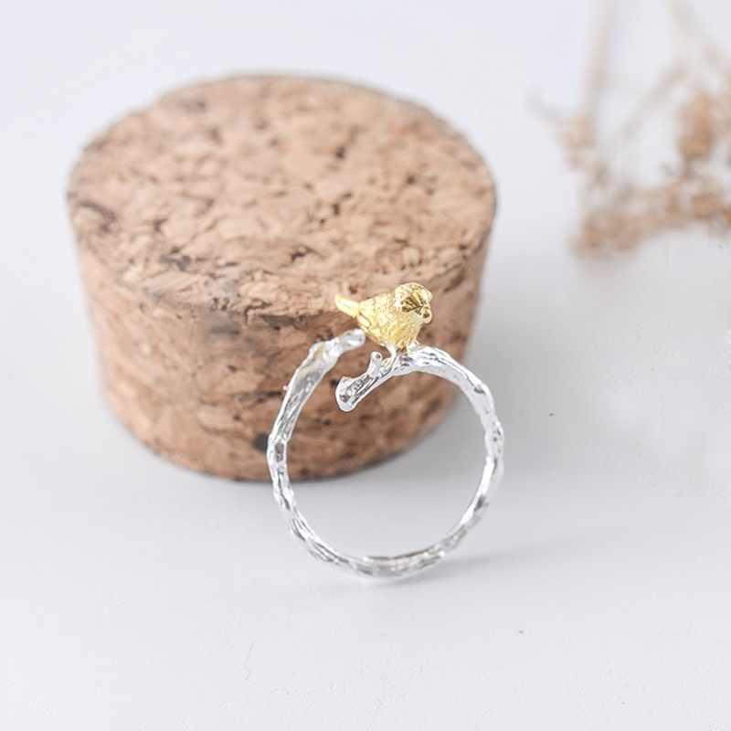 Halus Wanita Perhiasan Lucu Burung Cabang Berlapis Perak Cincin Desain Baru Gadis Cantik Cincin Aksesoris