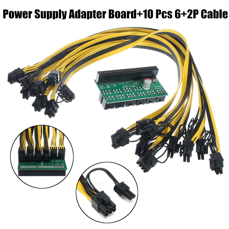 10pcs 6+2Pin Cable Breakout Adapter Board DPS-1200FB Power Supply Kit for Server Power Conversion for Ethereum Mining Device