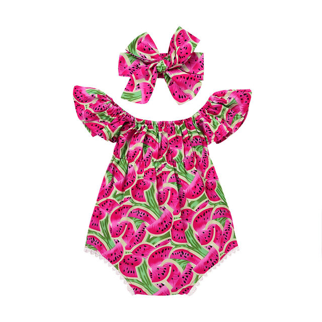 2233e90077c4 Newborn Baby Girl Bodysuit Headband Clothing Cotton Jumpsuit Girls Costume Watermelon  Summer Bodysuits Outfits Clothes 2PCs