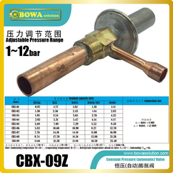 Constant pressure valve is used to freeze protection of  evaporator in heat pupum, dehumidifiers, air driers and water chillers