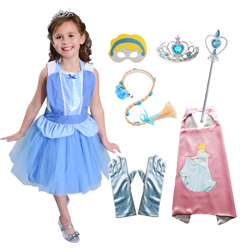 Cinderella Costume Girls Apron Cape Mask Tiara Wand Glove Braid Halloween Birthday Cosplay Princess Outfits Kids Party