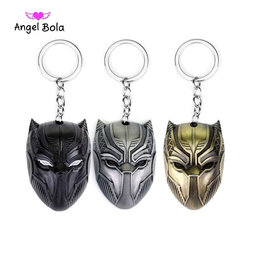 Avengers Captain America 3 Panther Mask Keychain Antique Tin and black gun bronze Keyring pendant Jewelry Accessories