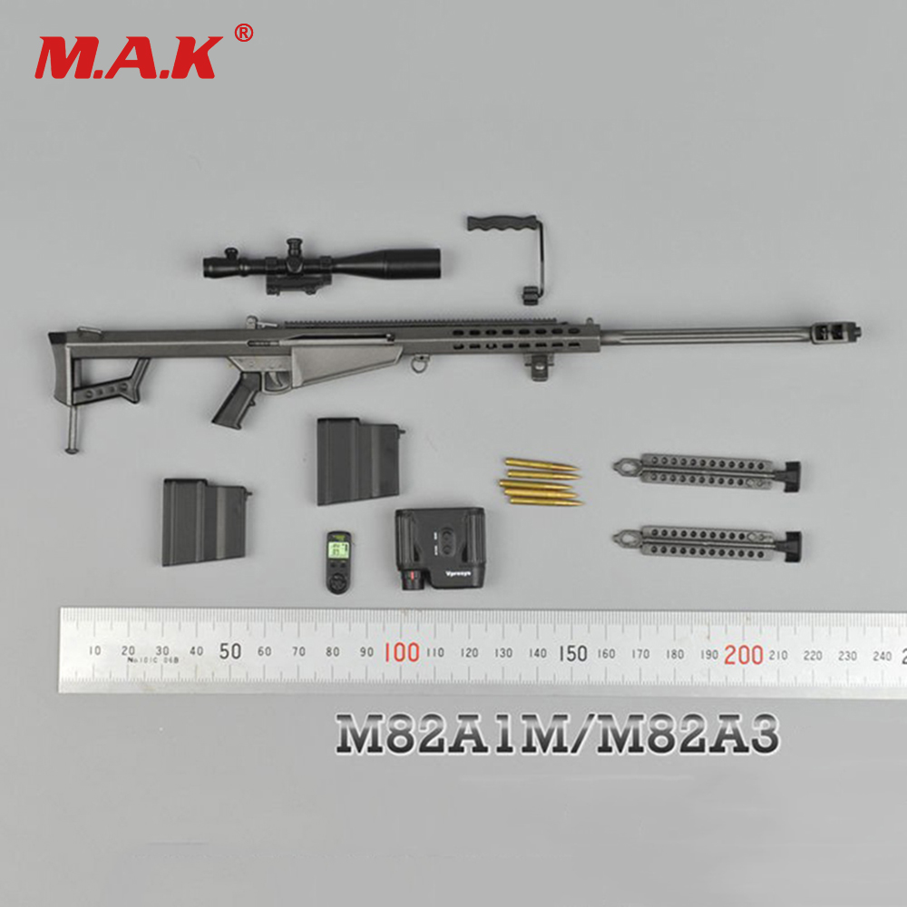 1/6 Metal Color Sniper Rifle Gun Model Barrett  M82A1 SASR Weapon Model for 12 inches Soldier Figure Accessory 1 6 scale rifle gun model for 12 inches action figure accessories collections x80028 m700pss x80026 psg1