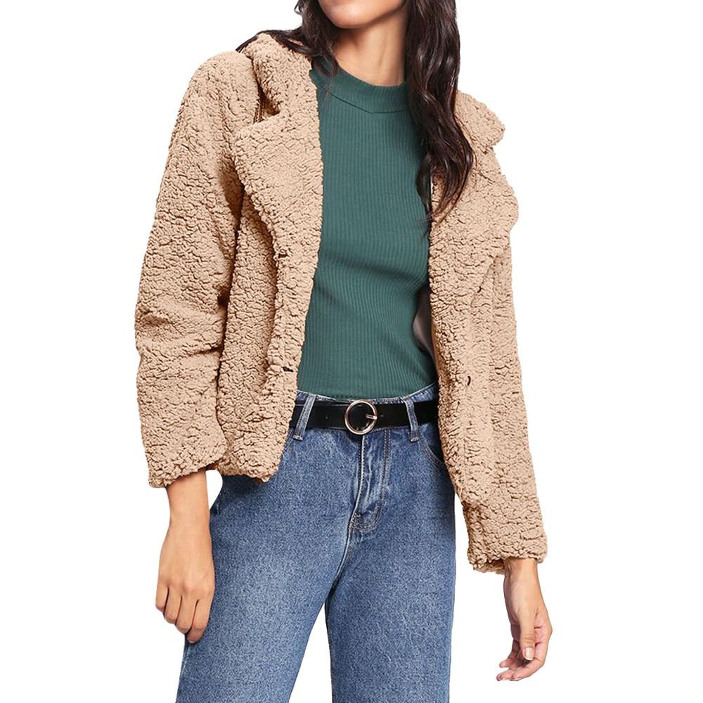 FeiTong Teddy Bear Fur Coat Winter Women Coats 2018 Casual