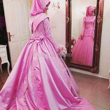 Long Sleeve Hijab Islam Muslim Wedding Dresses Turkey Gelinlik 2017 Pink Color Lace Applique Court Train Bow Back Bride Dress