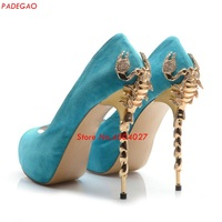 Sexy scorpion metal High heel Wedding Shoes Woman Blue Red Black Peep Toe Pumps Platform Stiletto Heel Shoes