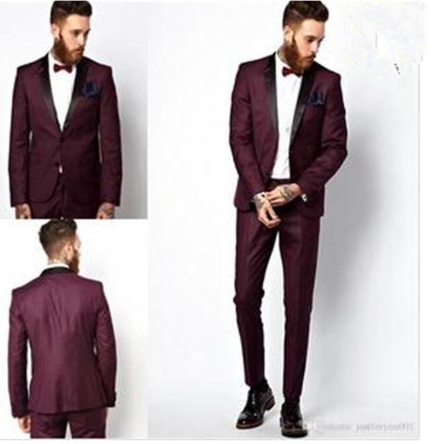 084398e64d10 € 87.41 8% de DESCUENTO|Borgoña dos Botones boda Esmoquin slim fit Trajes  para hombres groomsmen Traje dos piezas solapa formal Trajes (coat + ...