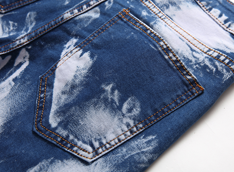 Großhandel Männer Elastizität Slim Fit Jeans Streifen Reißverschluss Loch Zwei Farben Schleifen Weiß Hosen Männer Von Burtom, $53.03 Auf De.Dhgate.Com