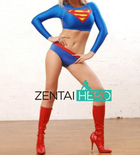Free Shipping DHL 2016 NEW Sexy Two Pieces Female Superman Costume Movie Costume Lycra Supergirl Zentai Costume For Kid Adult