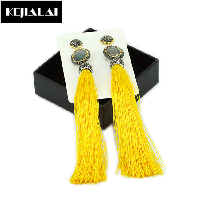 Hot Sale Bohemian Earrings Tassel Jewelry Yellow Long Fringe Tassel with Gold Plated Rhinestone Charm Earrings for Women