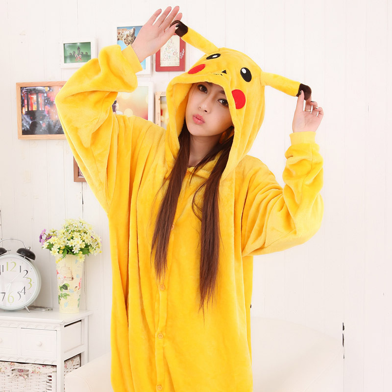 Anime Adult Pikachu Kigurumi Unicorn Onesie Flannel Women Pajamas Animal Costume Fancy Pokemon Cosplay Onepiece Sleepwear