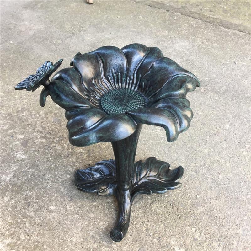 Mangeoire pour oiseaux en forme de fleur en alliage d'aluminium moulé pour jardin extérieur en métal vert foncé