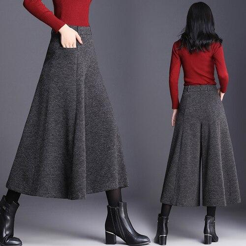 الخريف والشتاء بنطلون المرأة موضة عالية الخصر بنطال ذو قصة أرجل واسعة حجم كبير السراويل النساء كولوتيس تنورة بنطلون 3/4 السراويل النساء