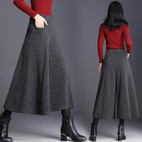 Autumn And Winter Trousers Women Fashion High Waist Wide Leg Pants Plus Size Pants Women Culottes Skirt Trousers 3/4 Pants Women