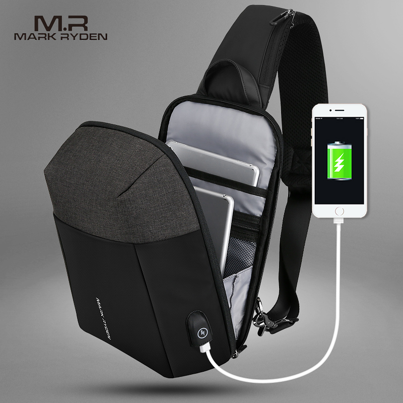 Mark Ryden 2019 Summer Men Crossbody Bag USB Recharging Chest Bag Anti-thief Men Shoulder Bag