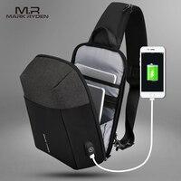 Mark Ryden 2019 Summer Men Crossbody Bag USB Recharging Chest Bag Anti thief Men Shoulder Bag