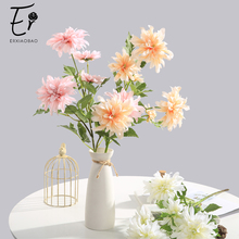 Erxiaobao High Quality Pompon Dahlia Silk Artificial Flowers Fake Chrysanthemum for Table Wedding Home Room Decoration