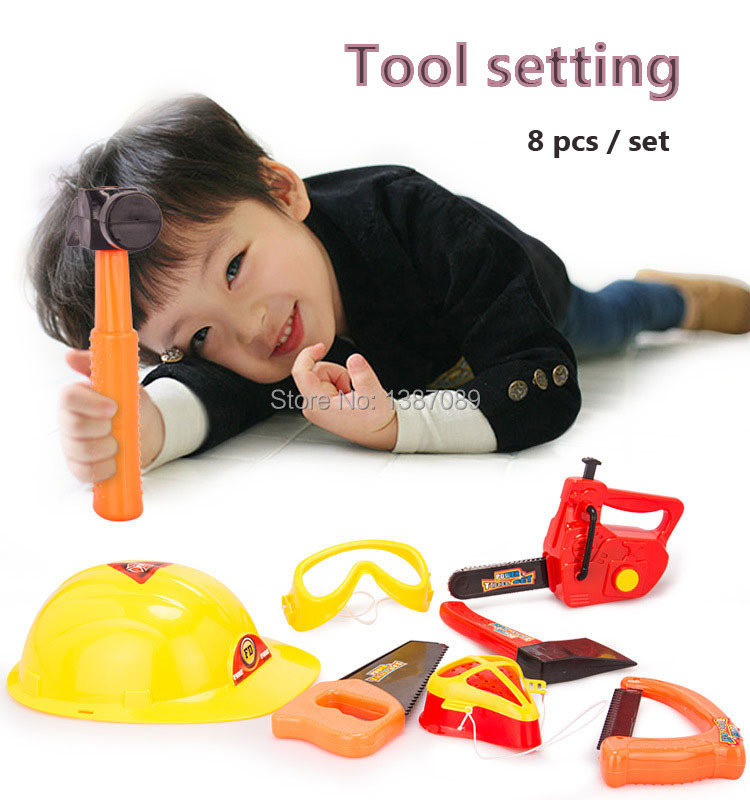 A set of gardening tool, plastic toys modeling Tools 8 pcs/set electric saw kids hammer helmet axe mask glasses free shipping