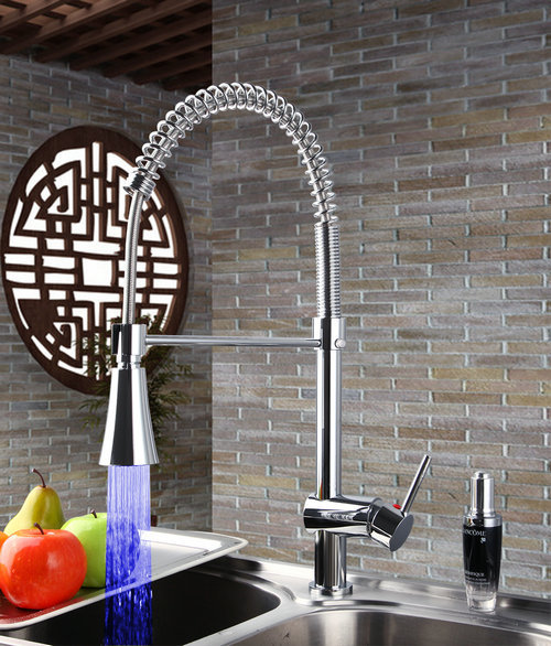 Chrome LED Spring Pull Out Kitchen Faucet Single Hole 8085/7 Basin Sink Water Tap Vessel Lavatory Faucets,Mixers & Taps chrome swivel spout spray kitchen single hole sink faucet 92282 basin sink water tap vessel lavatory faucets mixers tap