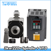 CNC Milling Spindle motor Air Cooled Spindle 3KW 4 Bearings& 3.0kw VFD/inverter variable frequency driver spindle speed control