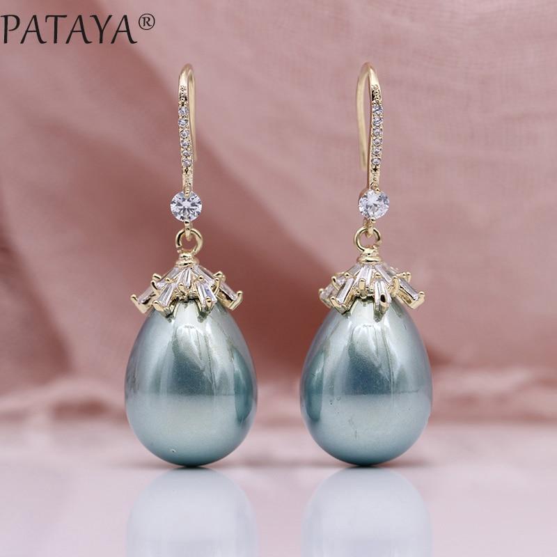 PATAYA nouvelle coquille ovale perles longues boucles d'oreilles 585 or Rose carré naturel Zircon femmes de luxe Fine fête de mariage bijoux de mode
