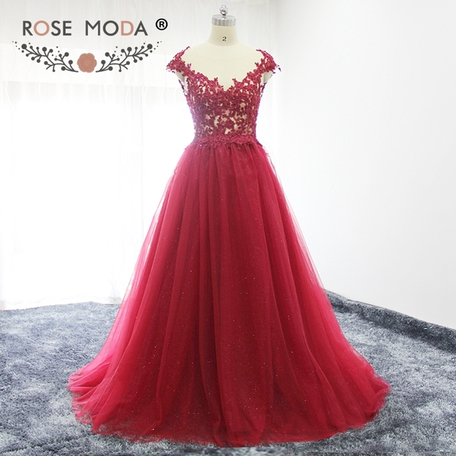 Rose Moda Burgundy Prom Dress with Low V Back Cap Sleeves Lace Prom Dresses Long Party Dress for Xmas 2019