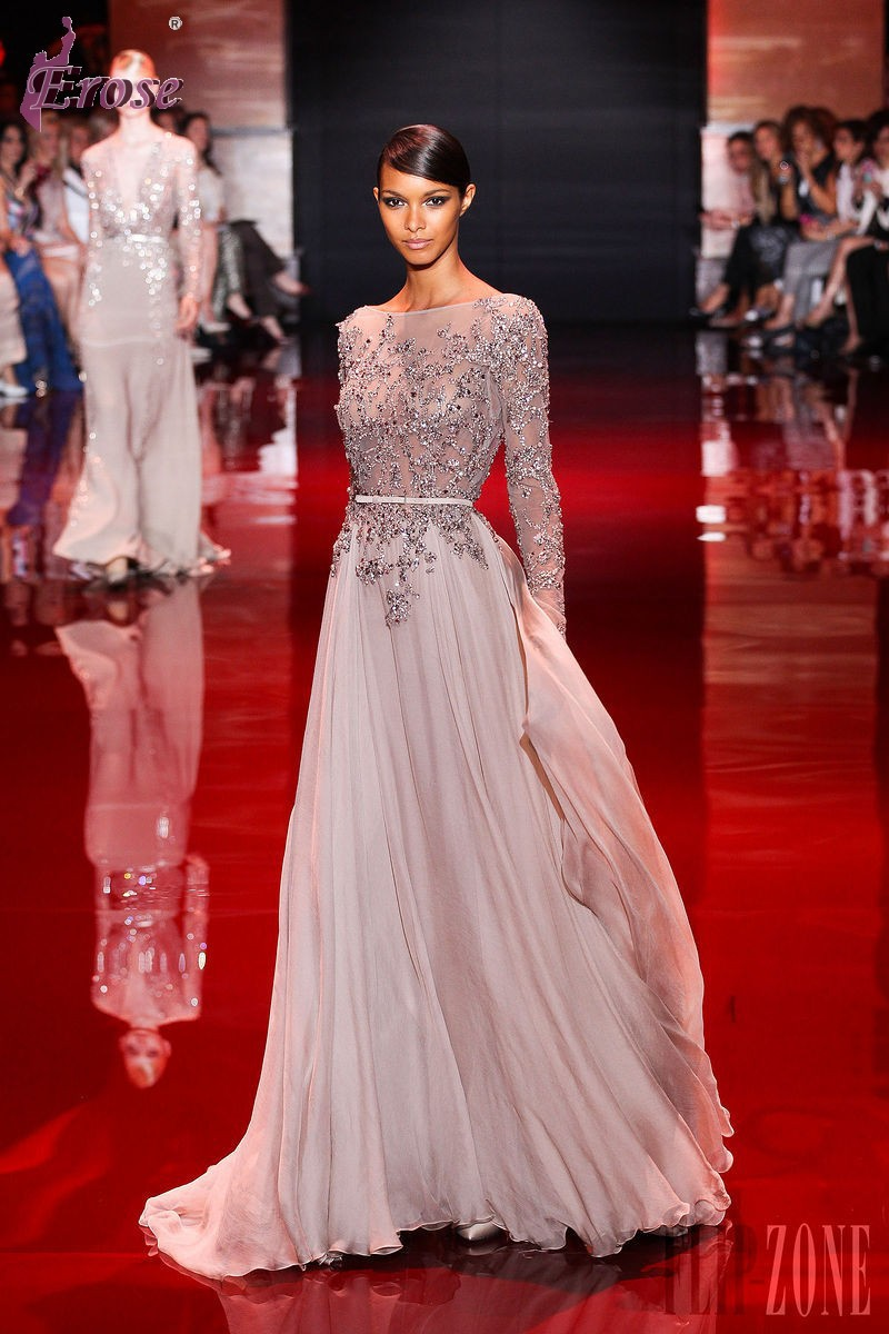 LN 010 2014 Fall Winter Long Sleeve Open Back Floor Length Beaded Chiffon Elie Saab Dress For Sale Haute Couture Evening In Dresses From
