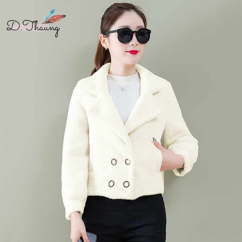 Autumn Women Outerwear 2019 New Short Double-Breasted Female Woolen Coat Thickening Wild Simple Ladies Jacket Qw087