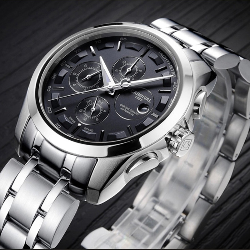 Carnival Fashion Watch Men silver Stainless steel Sapphire glass Automatic Mechanical date waterproof Watch