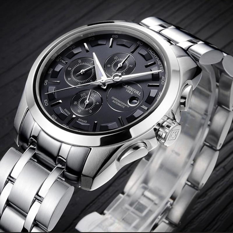 Carnival Fashion Watch Men silver Stainless steel Sapphire glass Automatic Mechanical date waterproof Watch цена и фото
