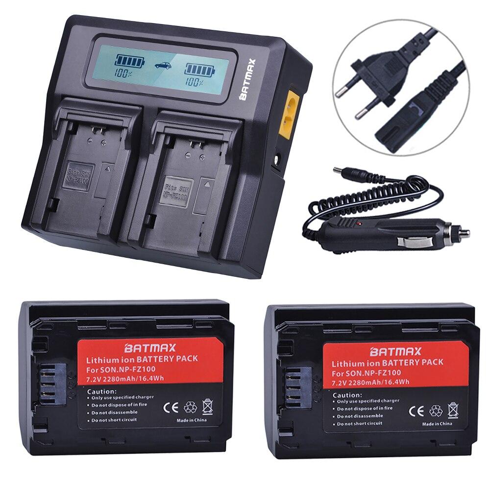 2 Unid NP-FZ100 NP FZ100 NPFZ100 batería + AC LCD rápido cargador Dual para Sony Alpha 9 A9 9R A9R 9 s A9S A7RIII A7R3 7RM3 A7m3