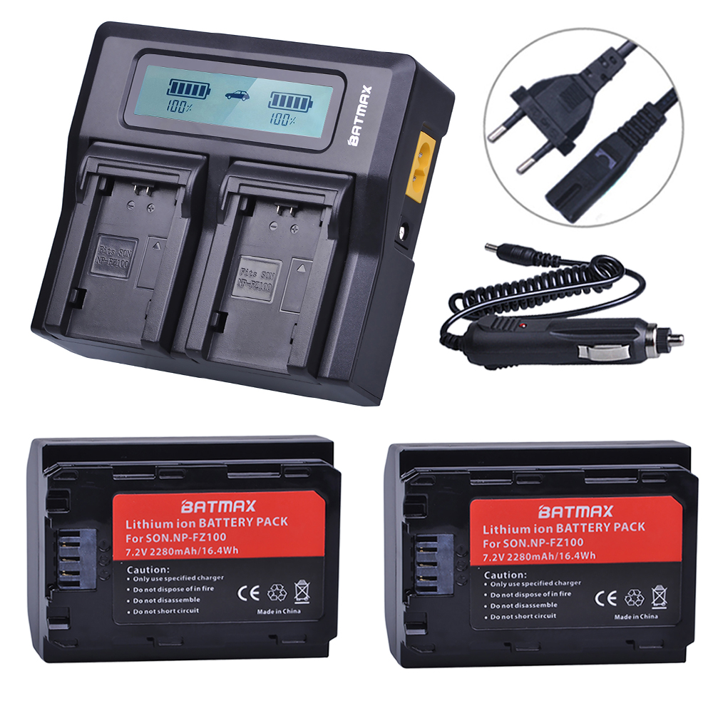2Pc NP-FZ100 NP FZ100 NPFZ100 Battery + AC Rapid LCD Dual Charger for Sony Alpha 9 A9 9R A9R 9S A9S A7RIII A7R3 7RM3 A7m32Pc NP-FZ100 NP FZ100 NPFZ100 Battery + AC Rapid LCD Dual Charger for Sony Alpha 9 A9 9R A9R 9S A9S A7RIII A7R3 7RM3 A7m3