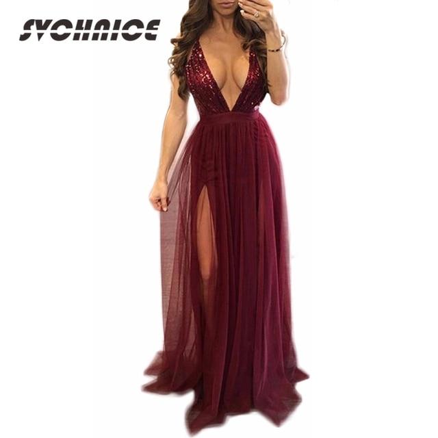 6c314176fbc3 Mesh Split Maxi Dress Women Summer Deep V Neck Wine Red Party Dress  Sequined Backess Sexy Dress Club Long Dress