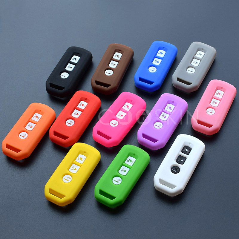 3 Button Key Cover Silicone Holder For Honda Motorcycle PCX 125 PCX150 Remote Keyring Case Chain