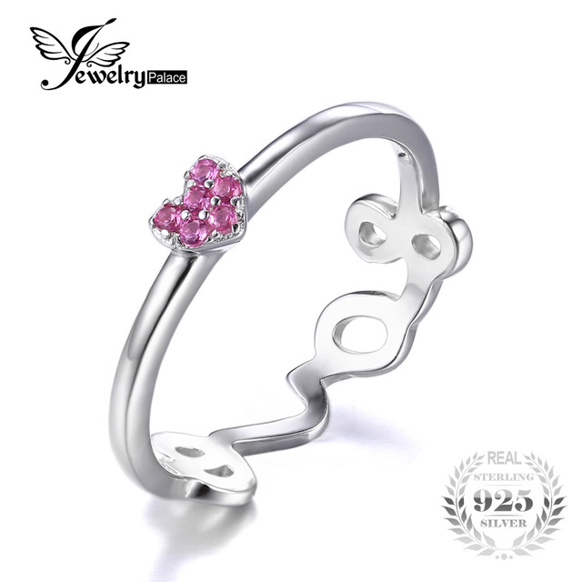 JewelryPalace 925 Sterling Silver Created Pink Sapphire Love Heart Wrap Stackable Ring Engagement Wedding Heart Rings For Women