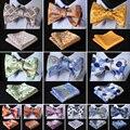 Verifique Dot Floral Paisley Homens Tecido De Seda Do Casamento Auto Bowtie lenço Set # H2