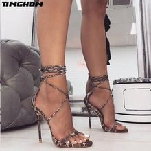 TINGHON Sexy Fashion Womens Serpentine Sandals Lace-up Open Toe Gladiator Thin High Heels Sexy Summer Ladies Wedding Shoes women gladiator sandals cross tied open toe high heels pumps cut outs serpentine lace up sandals party wedding sexy ladies shoes