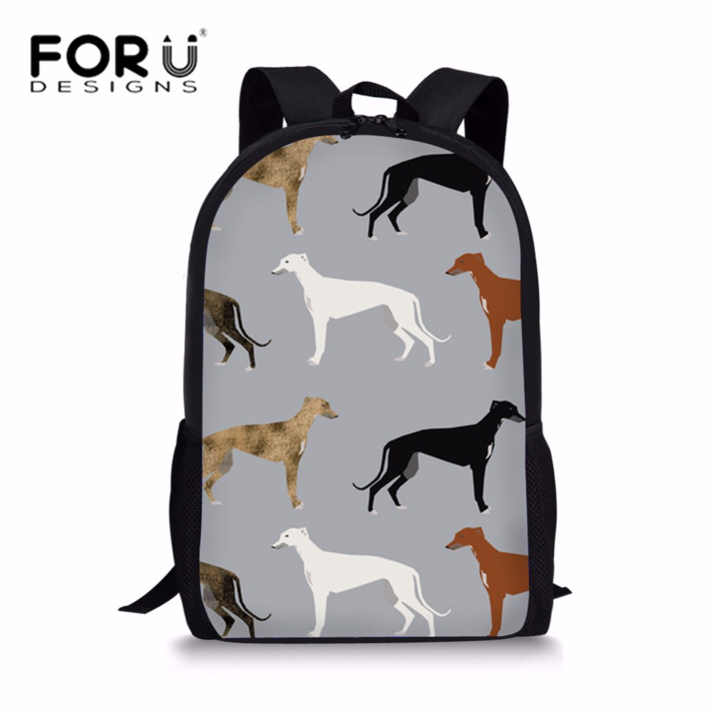 FORUDESIGNS Girls Cute Greyhounds Printing School Bags Teenager Shoulder Bag Children Schoolbag for Kids Preppy Backpack