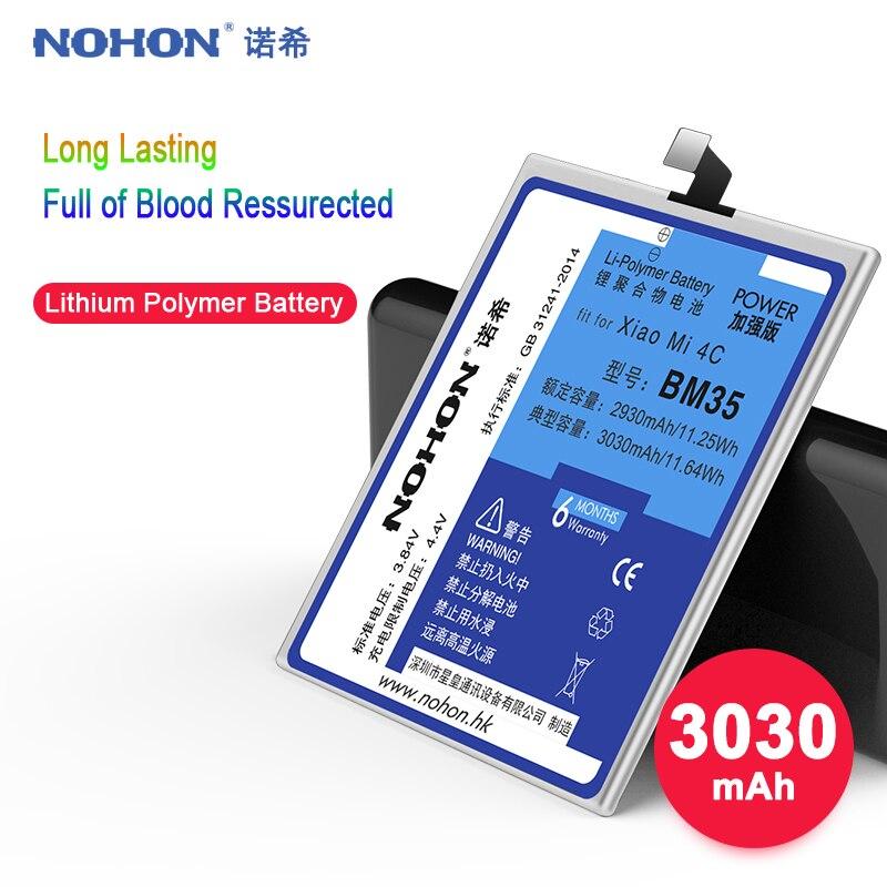 Original NOHON Bateria Para Xiao mi mi mi 4C BM35 4C Alta Capacidade 3030 mAh bateria Do Telefone Móvel Baterias de Substituição Livre ferramentas Para mi 4C