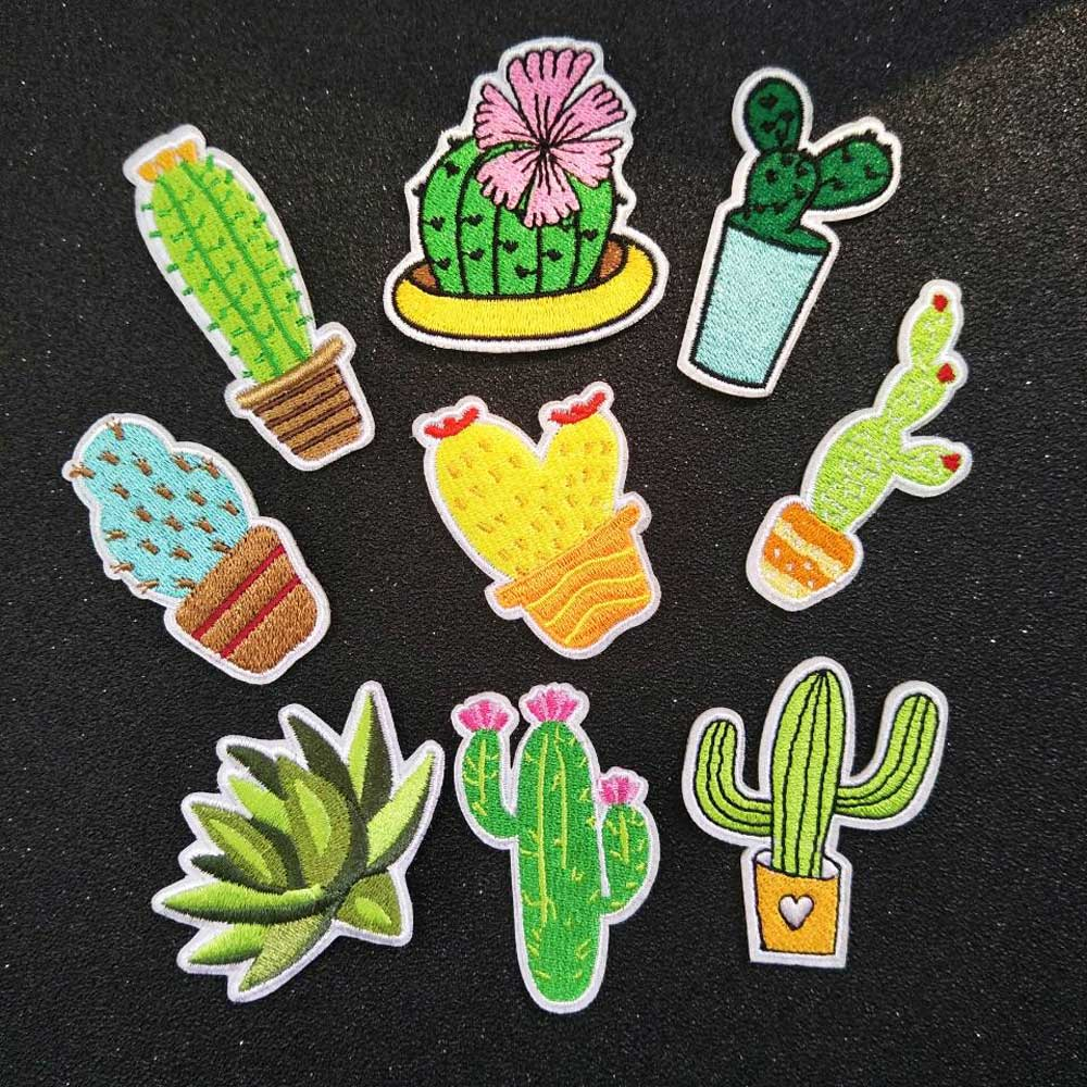 2d65c636aa6c2b 9pcs lot the flower embroidered cactus patch iron on patches for clothing  and clothes bastidor para bordar
