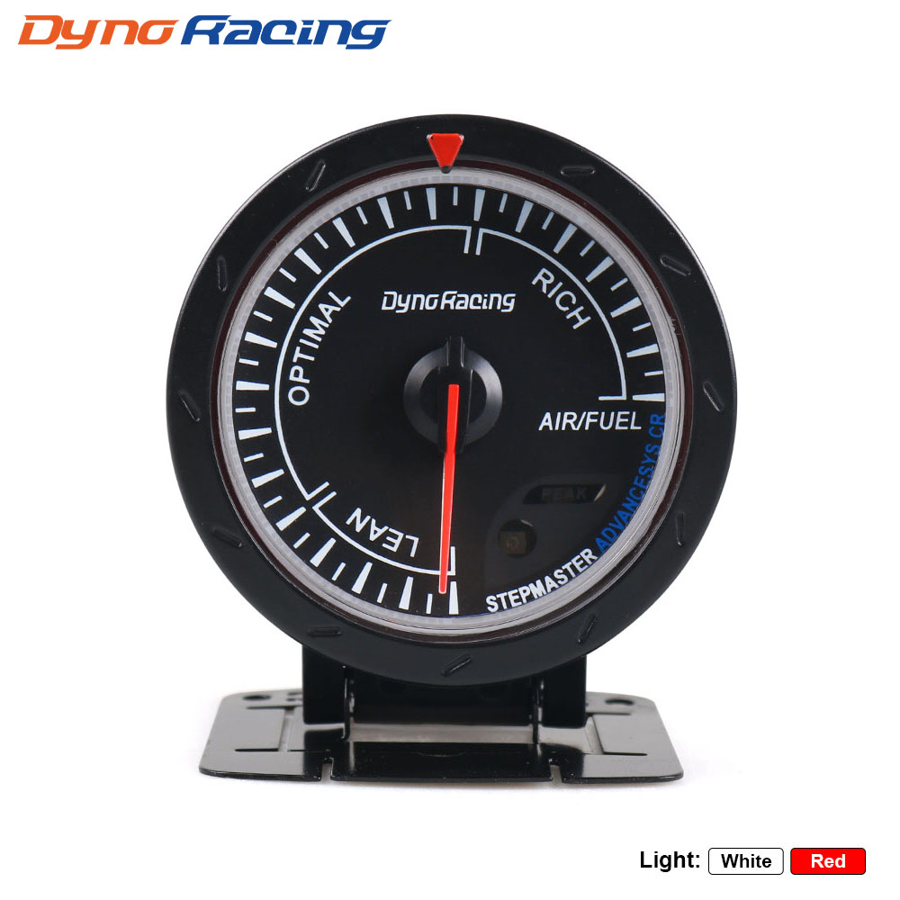 Dynoracing 60MM Car Air Fuel Ratiometr Ukazatel červené a bílé osvětlení Úzkopásmový Air Fuel Ratio Meter Black Face Auto Meter BX101473