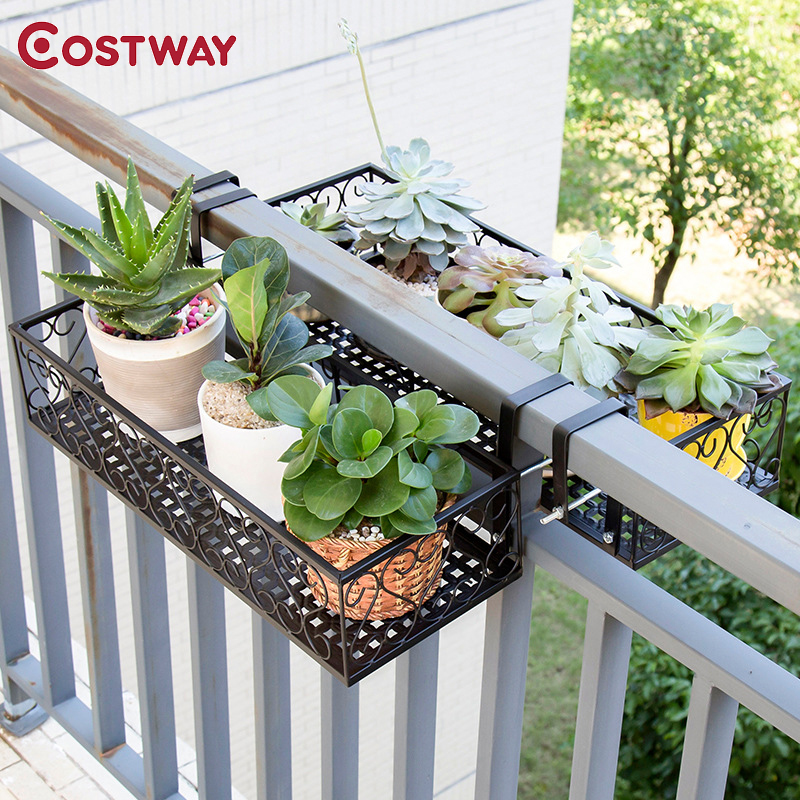COSTWAY Balcony Hanging Flower Stand Iron Rack Plant Stand Metal Shelf Plant Shelf Outdoor Decor W0285
