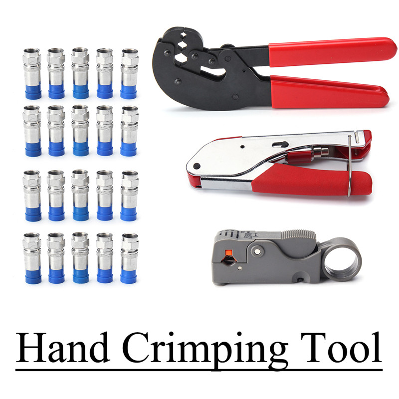 23Pcs F-Style Compression Hex Hand Crimping Tool Rotary Coaxial Cable Cutter Crimper With 20pcs Crimp Connector Hand Tools Kit m22520 2 01 crimp tool by hand equivalent to afm8 dmc with sk2 2 locator
