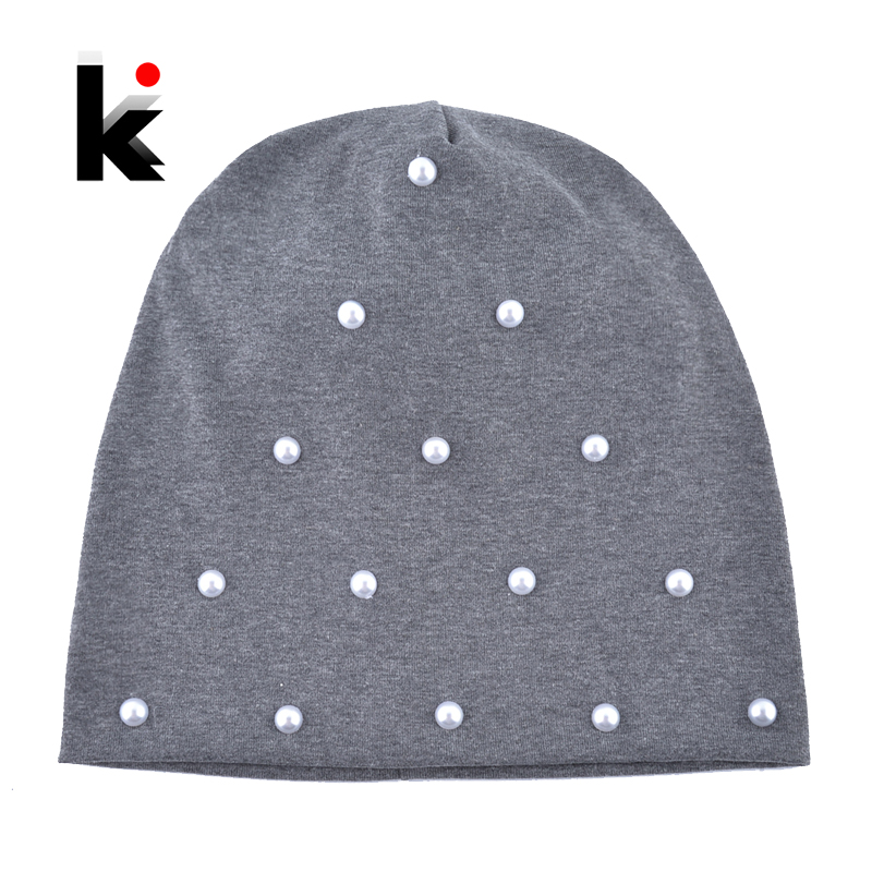 Fashion Pearls   Beanie   Hat Women Solid Color Handmade Pearl Bonnet Caps Ladies Cotton   Skullies     Beanies   Autumn Spring Casual Touca
