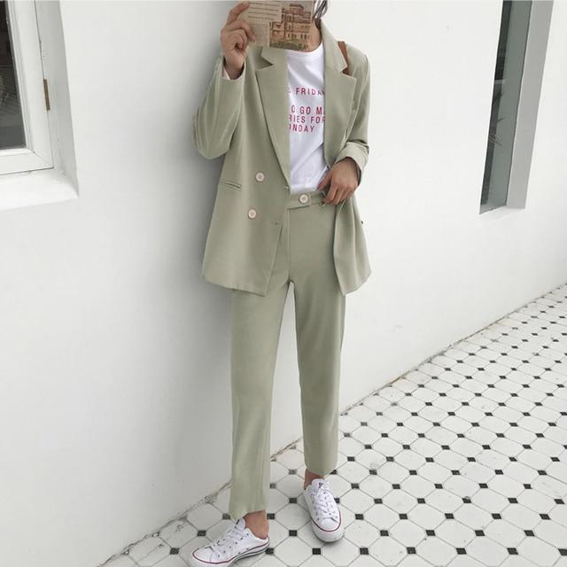 Vintage Autumn Winter Thicken Women Pant Suit Light Green Notched Blazer Jacket & Pant 2019 Office Wear Women Suits Female Sets 2