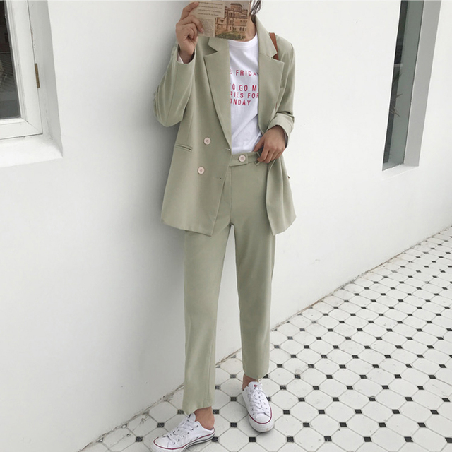 Vintage Double Breasted Women Pant Suit Light Green Notched Blazer Jacket & High Waist Pant Spring Office Wear Women Suits 11