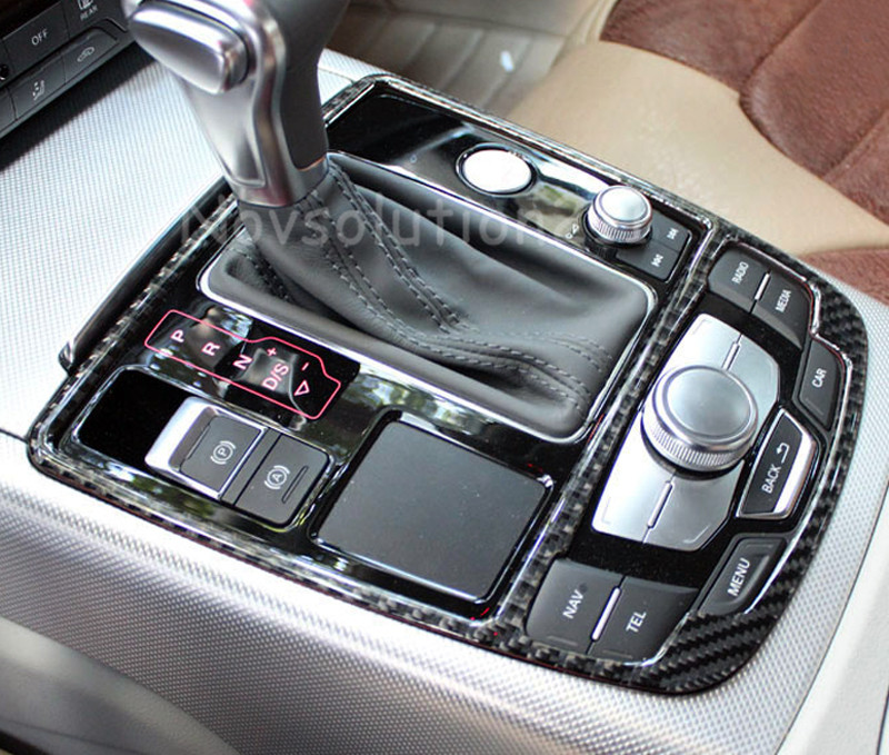 Real Carbon Fiber Gear Box Panel Cover Trim For Audi A6 C7 2012 2013 2014 2015 Car Interior Accessories styling 12pc canbus car led light bulbs interior package kit for 2012 2014 audi a6 c7 dome glove box trunk license plate lamp white