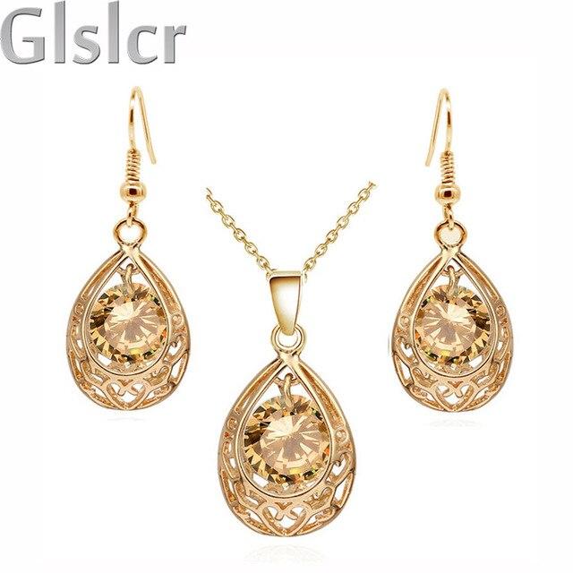 Vintage queen Bride  gold plated Zircon Rhinestones water drop Pendant Necklace Earrings indian jewelry sets for women 80025