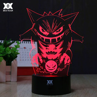 Pokemon Go Gengar 3D Lamp LED Remote Control Night Light USB Decorative Table Lamp Interesting Child
